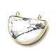 Grand connecteur demi-lune serti or et pierre polie et à facettes 32x26mm