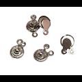 4 fermoirs pression en métal 14x7mm