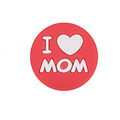 """Perle ronde """"I love Mom"""" en silicone alimentaire sans BPA 19x9mm"""