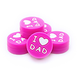"Perle ronde ""I love Dad"" en silicone alimentaire sans BPA 19x9mm"