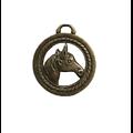 Pendentif rond / Médaillon tête de cheval 28x25mm