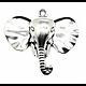 Très grande breloque / pendentif tête d'éléphant en métal 40x44mm