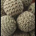 Perle au crochet bois/coton 20mm