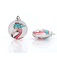 Breloque ronde en verre illustration flamant rose 30mm