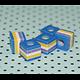 5 perles cubes rayées et colorées en acrylique 9x9x8mm