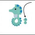 Perle ou anneau de dentition hippocampe en silicone alimentaire sans BPA