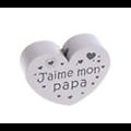 """Perle coeur en bois peint sans solvant """"Jaime mon Papa"""" 35x25mm"""