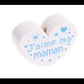 "Perle coeur en bois peint sans solvant ""Jaime ma Maman"" 35x25mm"