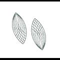 Breloque grand ovale ajourée en métal peint 15x39mm