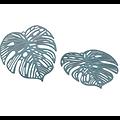 Breloque grande feuille tropicale ajourée en métal peint 32x32mm