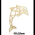 Grand pendentif / connecteur dauphin en acier inoxydable 45x32mm