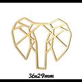 Pendentif / connecteur tête d'éléphant en acier inoxydable 36x29mm