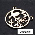 Pendentif / connecteur rond avec oiseau sur la branche en acier inoxydable 20x18mm