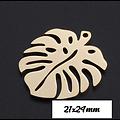 Pendentif / breloque feuille de monstera en acier inoxydable 21x24mm