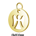 Pendentif / breloque médaillon rond et ange en acier inoxydable 12x15,5mm
