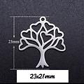 Breloque arbre à coeurs en acier inoxydable 23x21mm