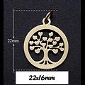 Breloque médaillon arbre à petits coeurs en acier inoxydable 22x16mm