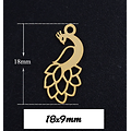 Breloque paon en acier inoxydable 18x9mm