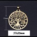 Grand pendentif Arbre de vie en acier inoxydable 37x30mm