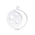 Breloque ronde aux étoiles et à la lune en acier inoxydable 21x18mm