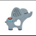 Anneau de dentition éléphant multicolore en silicone alimentaire sans BPA 88x76mm