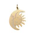 Breloque lune et soleil en acier inoxydable 28x17mm