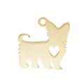 Breloque petit chien en inoxydable argenté 14x15mm