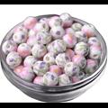 Perle ronde en porcelaine peinte de fleurs 10mm