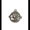 Cage à bola Ohm et pétales de fleurs en métal argenté 27x35mm