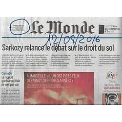 LE MONDE n°22263 12/08/2016  Feu à Marseille/ Cannabis/ Droit du sol/ Inuit/ JO Rio