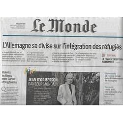 LE MONDE n°22266 16/08/2016  Réfugiés & Allemagne/ Jean d'Ormesson/ Bolt/ Jo Rio/ Mallet-Joris/ Gainsbourg