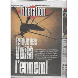 LIBERATION n°10793 03/02/2016  Epidémies, voilà l'ennemi/ Primaire à gauche/ Applications milliard d'usagers/ Opposition syrienne