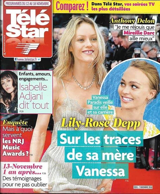 TELE STAR N°2093 12/11/2016 LILY-ROSE DEPP&PARADIS/ ADJANI/ PITT/ KAAS/ DELON