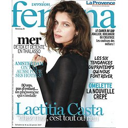VERSION FEMINA N°772 16/01/2017 LAETITIA CASTA/ THALASSO/ OMELETTES/ AMSTERDAM/ LECTURE