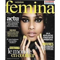 VERSION FEMINA N°776 13/02/2017  MAKE-UP COULEURS/ BARRATIER/ POIVRES/ SAINT-VALENTIN/ DEMARCHE