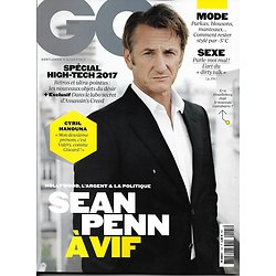 GQ n°105 déc.2016-janvier 2017  Sean Penn/ Spécial high-tech/ Hanouna/ Pesquet/ Ubisoft/ Cotillard