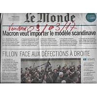LE MONDE N°22437 03/03/2017  MACRON PROGRAMME/ FILLON & LES DEFECTIONS/ CONTRE LA VIANDE