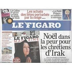 LE FIGARO n°20652 24/12/2010  CHRETIENS D'IRAK/ PEINTURE ITALIENNE/ VAGUE DE FROID