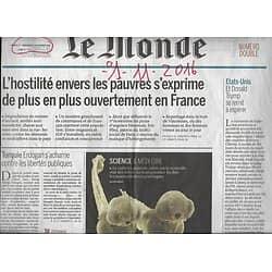 LE MONDE n°22332 01/11/2016  HOSTILITE ENVERS LES PAUVRES/ H.CLINTON/ SILVER ECONOMIE/ POISSON-LUNE