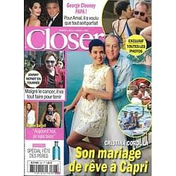 CLOSER N°626 09/06/2017 CORDULA/ CLOONEY/ HALLYDAY/ BARTOLI/ GRANDE/ MENARD