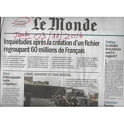 LE MONDE n°22334 03/11/2016 LES FRANCAIS FICHES/ BATAILLE DE MOSSOUL/ FACEBOOK