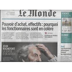 LE MONDE n°22626 10/10/2017  Jean Rochefort/ Fonctionnaires en colère/ Permafrost/ Assurance-vie