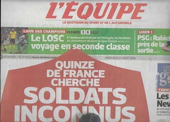 L'EQUIPE n°21955 27/08/2014  Quinze de France/ Losc/ Fourcade/ Pavia/ Giroud/ Coric