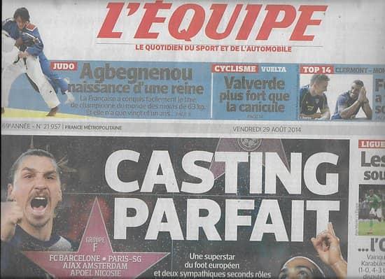 L'EQUIPE n°21957 29/08/2014  PSG tirage parfait/ Thauvin/ Agbegnenou/ Djokovic/ Fofana & Davies/ Viant/ Deschamps