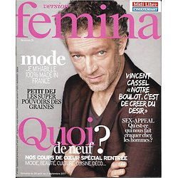 VERSION FEMINA n°804 28 août 2017  Vincent Cassel/ Spécial rentrée/ Sex-appeal/ Mode made in France