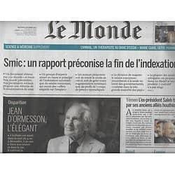 LE MONDE n°22674 06/12/2017  Jean d'Ormesson/ Indexation Smic/ Soigner avec les animaux/ Maires bâtisseurs