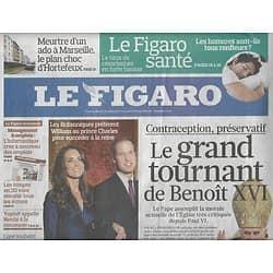 LE FIGARO n°20624 22/11/2010  Le grand tournant de Benoit XVI/ Ronflements/ Crépuscule de Berlusconi/ Antoine Veil