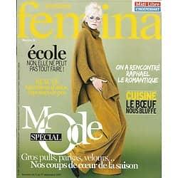 VERSION FEMINA n°806 11/09/2017  Spécial mode/ Raphaël/ On attend trop de l'école/ Food: effet boeuf!