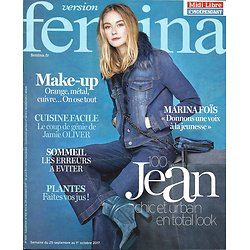 "VERSION FEMINA n°808 25/09/2017  100% jean/ Marina Foïs/ Cuisine facile avec Jamie Oliver/ Colmar/ Ados selfies ""nudes"""