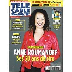 TELECABLE SAT HEBDO n°1138 25/11/2017  Roumanoff/ Fourcade/ Mittenaere/ Le Paris de Zabou/ Khéops